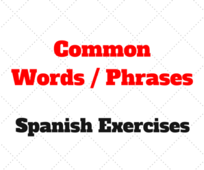 Spanish: Common Words and phrases to Practice