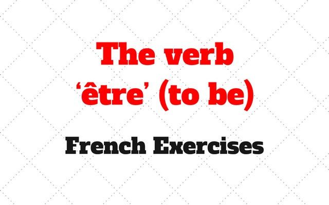 French The verb etre to be
